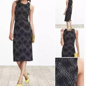 Banana Republic Wool Sheath Dress (Gray / Plaid)